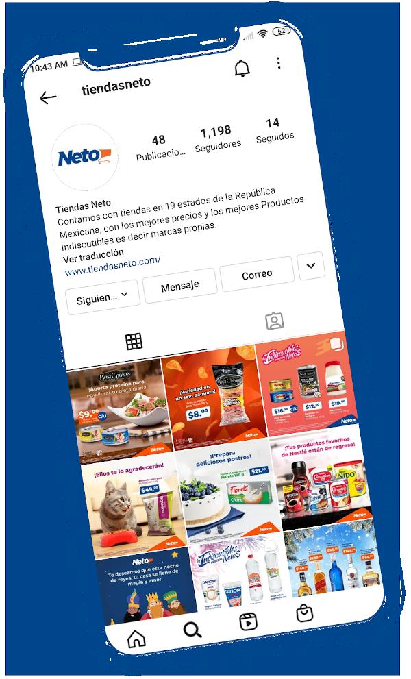 Móvil con el perfil de instagram de Tiendas Neto